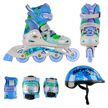 WORKER Torny LED – Kinder Inline-Skates Set 3in1 mit leuchtenden Rollen