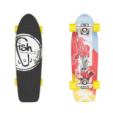 "Fish Old School Cruiser Szczupak 26"" Mini Longboard - Silver-Yellow"