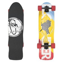 "Fish Old School Cruiser Flounder 31"" Mini Longboard - Black-Red"