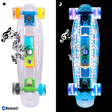 "WORKER Ravery 22"" Leuchtendes Penny Board mit Bluetooth Lautsprecher - transparent/orange"