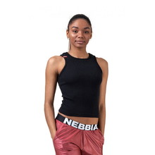 Sports Nebbia Labels 516 Damen Crop-Top - schwarz