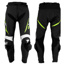 Men's Leather Moto Trousers W-TEC Vector - schwarz-fluo