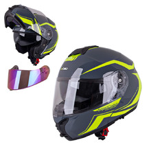 W-TEC FS-907 Klapphelm - Grey-Fluo-Yellow