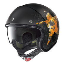 Nolan N21 Star Skull Motorradhelm - Flat Black-Orange
