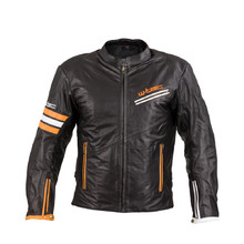 W-TEC Brenerro Leder Motorradjacke - Black-Orange-White