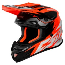 Cassida Cross Cup Two Motocross Helm - orange hivis/weiss/schwarz/grau