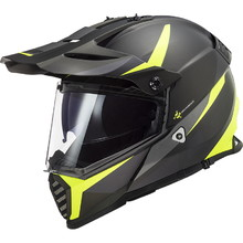 LS2 MX436 Pioneer Evo Motorradhelm - Router Matt Black H-V Yellow