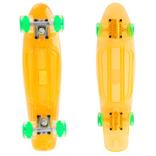 Penny Board Maronad Retro Transparent mit leuchtenden Rädern - orange