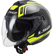 LS2 OF573 Twister II Flix Motorradhelm - Black H-V Yellow