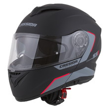 Cassida Compress 2.0 Refraction Motorradhelm - schwarz matt/grau/rot