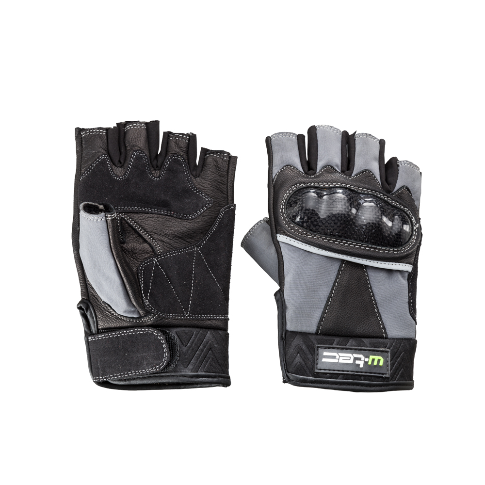 65aaf286c3dac3 Fingerlose Leder-Motorradhandschuhe W-TEC NF-4190 - schwarz-grau